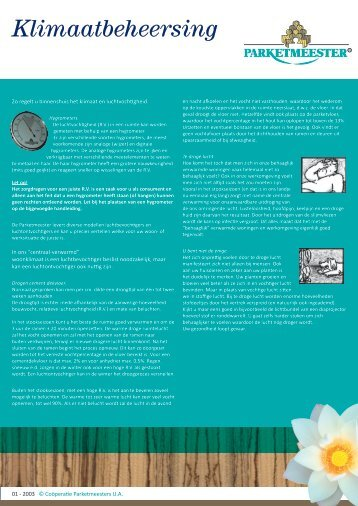 Leaflet – klimaatbeheersing in uw huis - Parketmeester