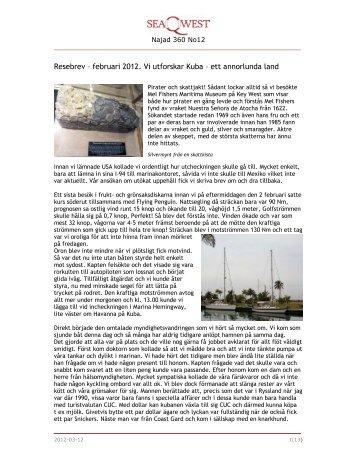 Nytt resebrev för februari, LÄS MER (PDF) - Seaqwest