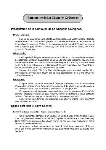 Patrimoine de La Chapelle-Grésignac - mairie de la chapelle ...