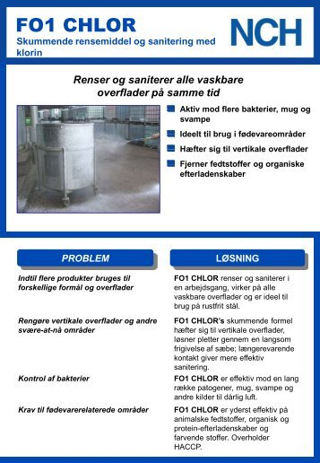 F01 Chlor - NCH Europe Inc., Danmark