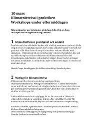 Seminarier/workshops att välja mellan under dagen - Sveriges ...
