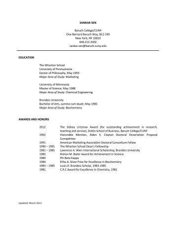 SANKAR SEN - Zicklin School of Business - CUNY
