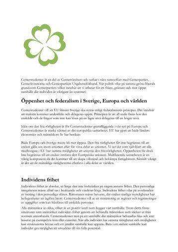 Öppenhet och federalism i Sverige, Europa och ... - Centerstudenter