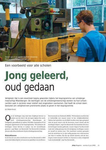 'Jong geleerd, oud gedaan' uit het arbo Magazine - Arbocatalogus-VO