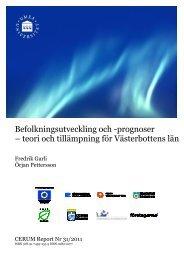 Befolkningsutveckling och -prognoser - Cerum - Umeå universitet