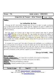 Examen Français - Groupement Scolaire Salim