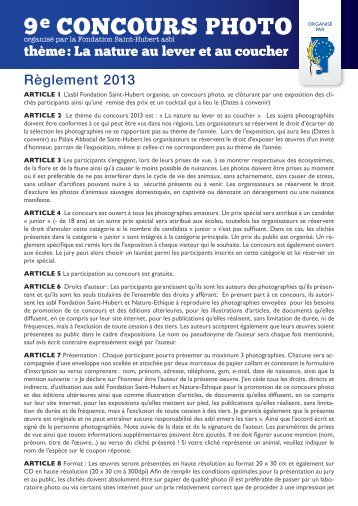 Règlement en format pdf disponible ici. - Fondation Saint-Hubert ASBL