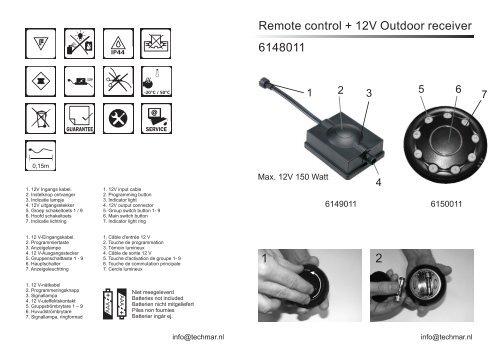 Remote control + 12V Outdoor receiver 6148011 2 1 - Garden Light ...