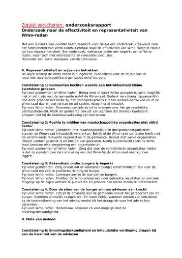 Zojuist verschenen: onderzoeksrapport - Koepel Wmo-raden