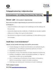Pedagogisk planering i religionskunskap Kristendomens utveckling ...