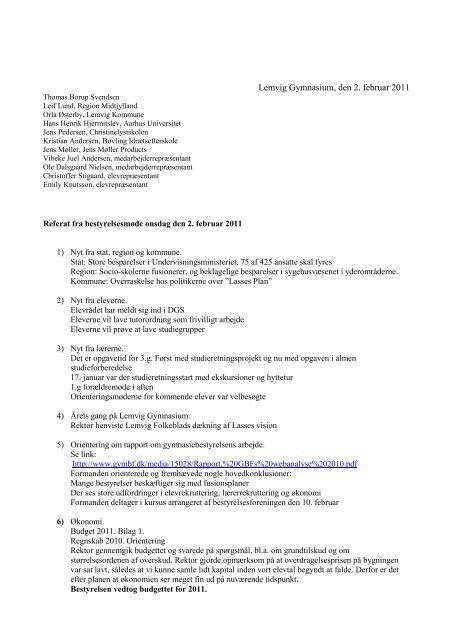 Referat af bestyrelsesmøde den 02.02.2011 - Lemvig Gymnasium