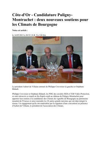 Revue de presse mai 2013 - Climats du vignoble de Bourgogne