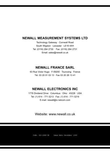 Newall Measurement Systems - Newall Electronics Inc.