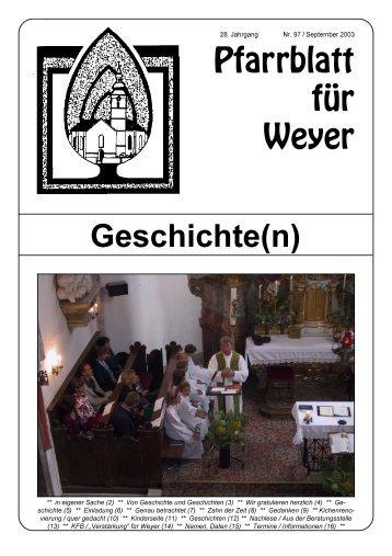 Pfarrblatt für Weyer Geschichte(n) - Pfarre-Weyer.com - Diözese Linz