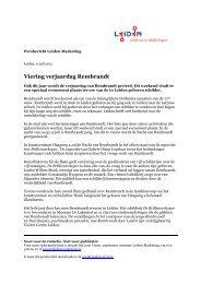 Persbericht Viering verjaardag Rembrandt - Leiden
