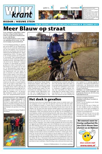 december - Overleg leefbaarheid Risdam-Zuid & Nieuwe Steen