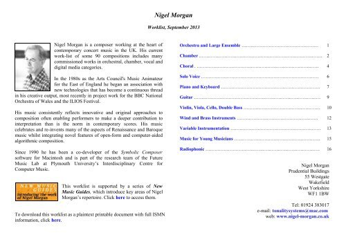 Nigel Morgan, Worklist September 2013