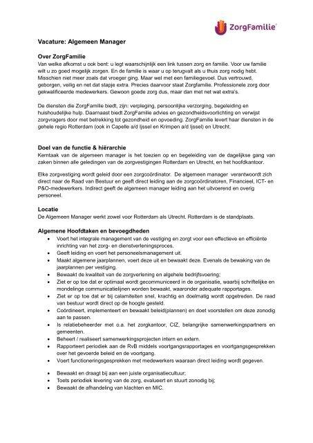 Vacature Algemeen Manager openen ( PDF) - ZorgFamilie