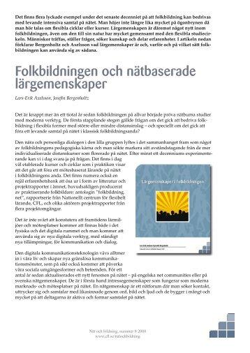 Folkbildningen och nätbaserade lärgemenskaper - Pedagogiska ...