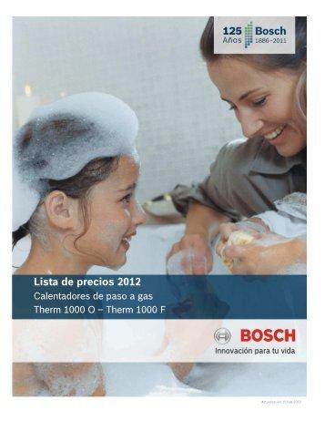 Lista de precios 2012 Lista de precios 2012 Calentadores de paso a gas Bosch