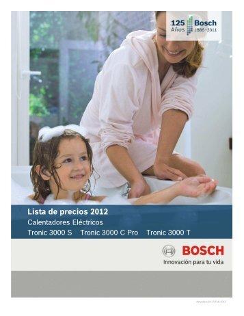 Lista de precios 2012 Calentadores de paso a gas Bosch Lista de precios 2012