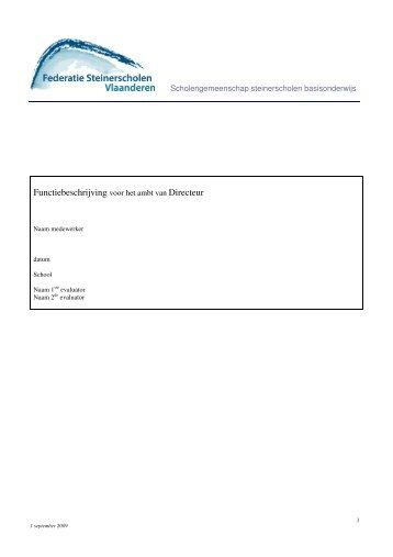 Functiebeschrijving voor het ambt van Directeur - Skynet.be