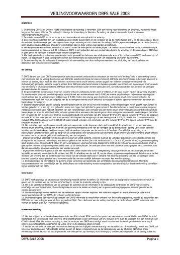 veilingvoorwaarden catalogus - DBFS veiling