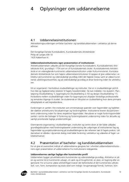 Akkreditering af bacheloruddannelsen i arkitektur ved ...