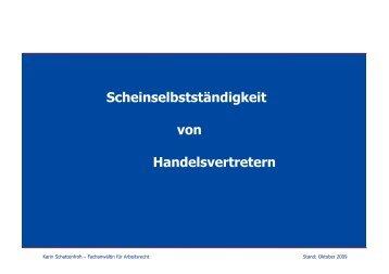 Scheinselbstständigkeit von Handelsvertretern - Karin Schattenfroh