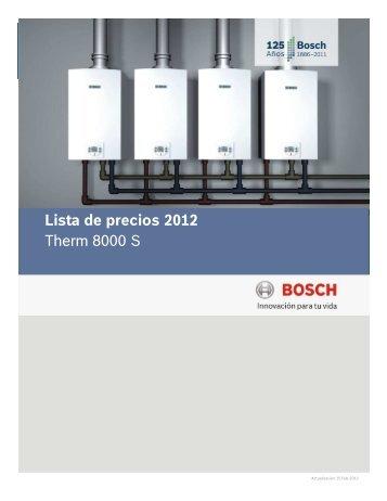 Lista de precios 2012 Therm 8000 S
