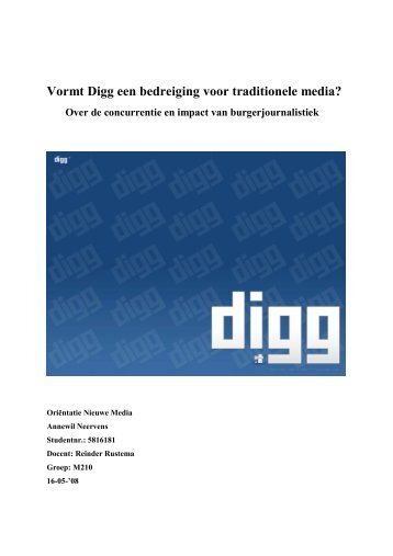 Vormt Digg een bedreiging voor traditionele media?