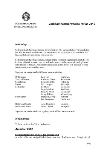 Verksamhetsberättelse för år 2012 - Södermanlands ...