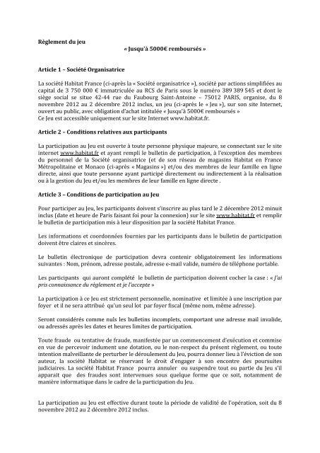 Article 1 – Société Organisatrice La société Habitat France