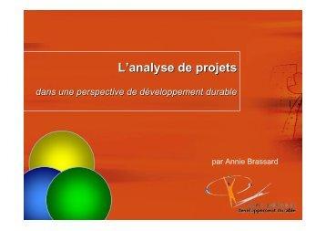 L'analyse de projets