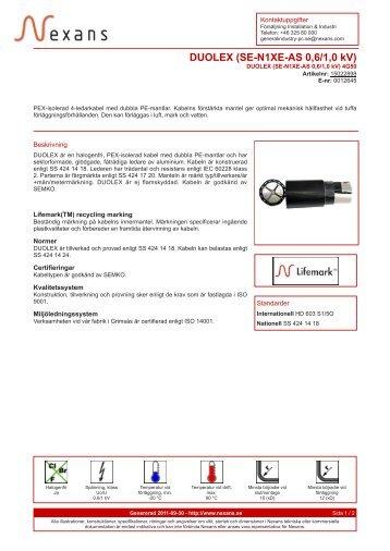 DUOLEX (SE-N1XE-AS 0,6/1,0 kV) - Elnu.se