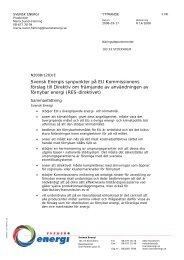 Svensk Energis synpunkter på EU-kommissionens förslag till direktiv ...