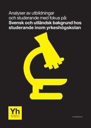 Svensk och utländsk bakgrund hos studerande inom yrkeshogskolan