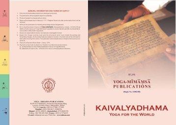 download Book & Audio/Video Catalog - Kaivalyadhama Yoga ...