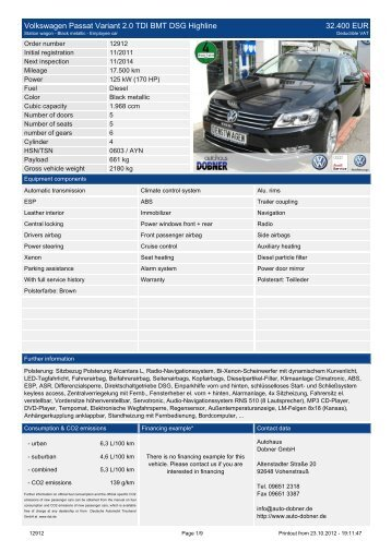 Volkswagen Passat Variant 2.0 TDI BMT DSG ... - Autohaus Dobner