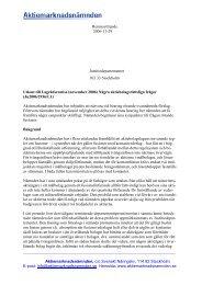 Remissyttrande 2006-11-29 Aktiemarknadsnämnden, c/o