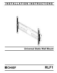 INSTALLATION INSTRUCTIONS Universal Static Wall Mount