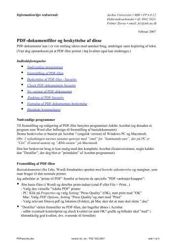 PDF-dokumentfiler og beskyttelse af disse - For brugere - Aarhus ...