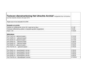 tarievenlijst - Het Utrechts Archief