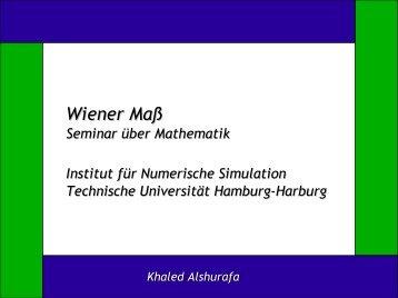 Wiener Maß - Institut für Mathematik - TUHH