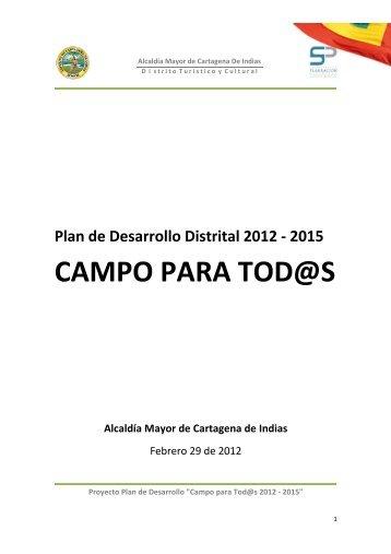 """Proyecto Plan de Desarrollo """"Campo para - Cartagena Cómo Vamos"""