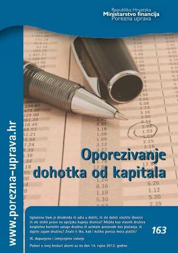 Brošura: Oporezivanje dohotka od kapitala - Porezna uprava