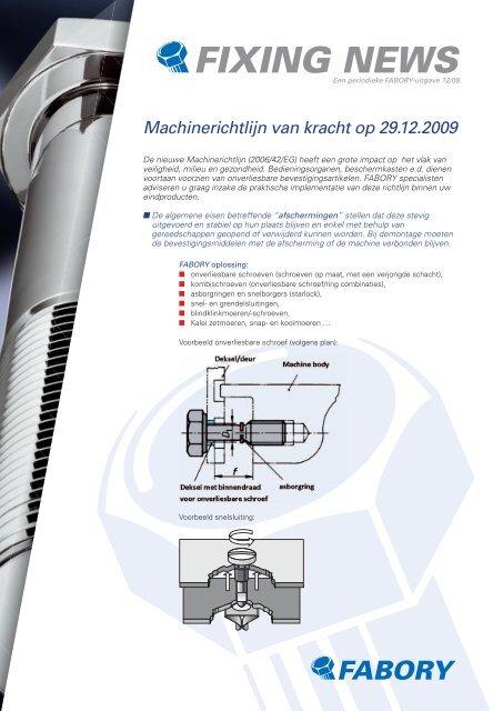 Machinerichtlijn Van Kracht Op 29122009 Fabory