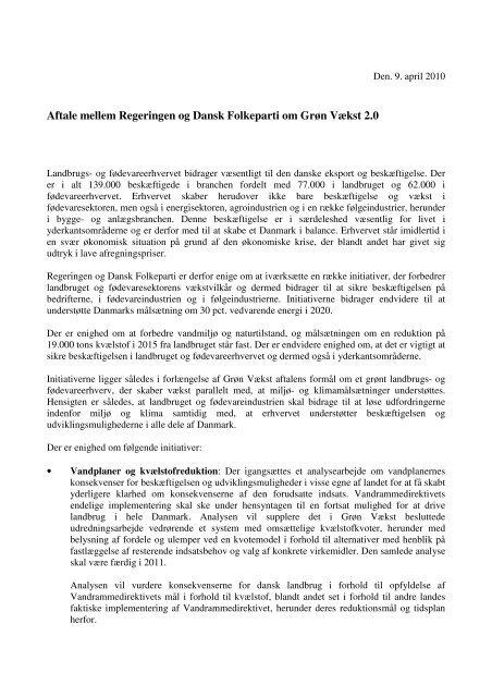 Aftale mellem Regeringen og Dansk Folkeparti om Grøn Vækst 2.0