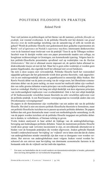 POLITIEKE FILOSOFIE EN PRAKTIJK - Ethiek en Maatschappij