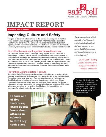 Impact Report 2013 - Safe2Tell
